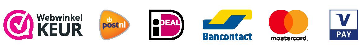 Logos PostNL Ideal Bancontact Mastercard VPay